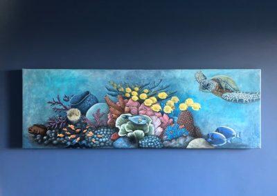 Schilderij oceaan schildpad vissen koraal