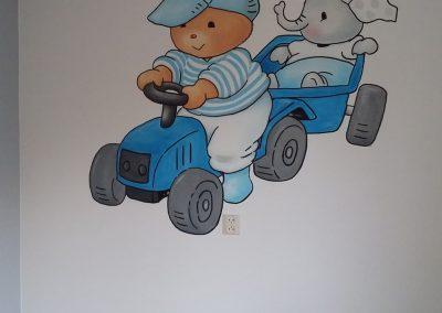 Muurschildering babykamer Beer en olifantje