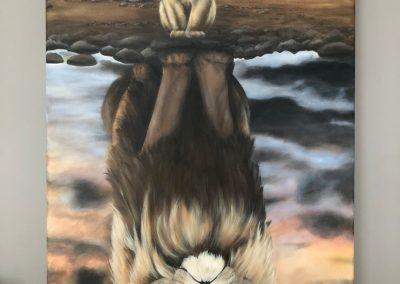 Paneel leeuw en welp schilderij