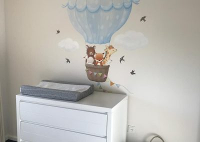 Muurschildering babykamer Luchtballon