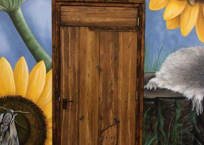Muurschildering kantine deur Traas
