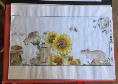 Schets muurschildering