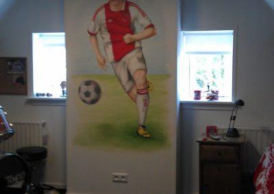 Muurschildering Ajax voetbal jongens