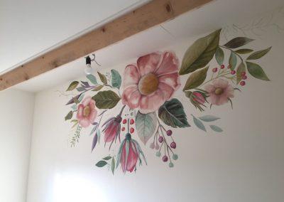 Muurschildering bloemen