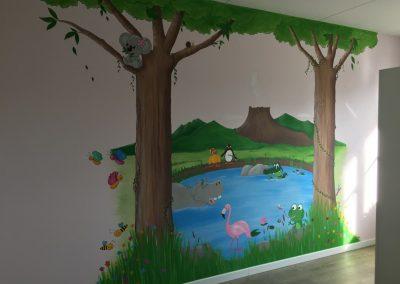 Muurschildering kinderkamer dieren en bomen