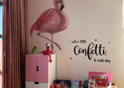Muurschildering Flamingo meidenkamer