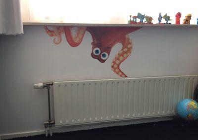 Muurschildering babykamer inktvis