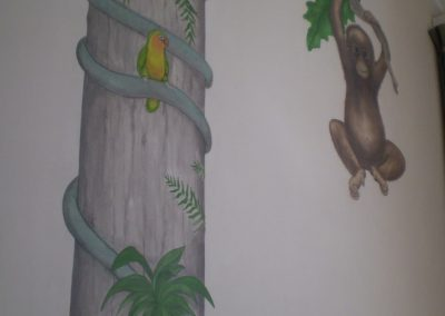 Kinderkamer muurschildering jungle
