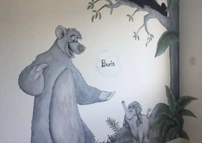 Kinderkamer muurschildering jungle book