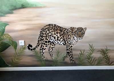 Kinderkamer muurschildering panter