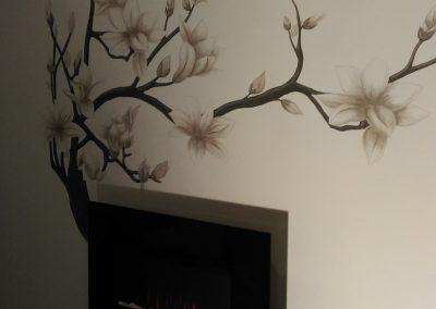 Muurschildering lotusbloem sauna ruimte
