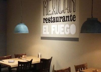 Muurschildering mexicaans restaurant el fuego