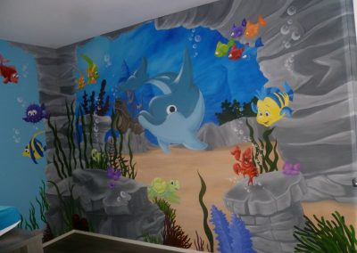 Muurschildering babykamer finding nemo