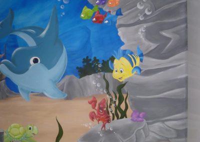 Muurschildering babykamer onderwater wereld