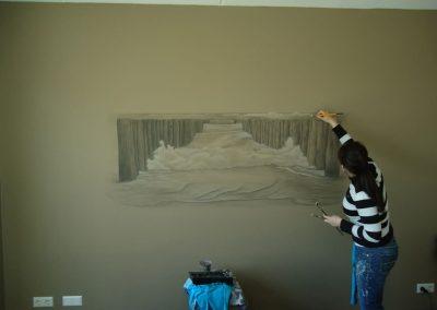 Muurschildering paalhoofden