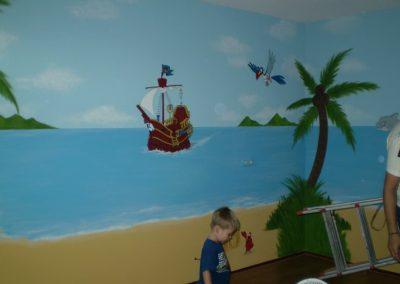 Kinderkamer piet piraat muurschildering