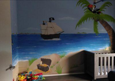 Muurschildering kinderkamer piraat