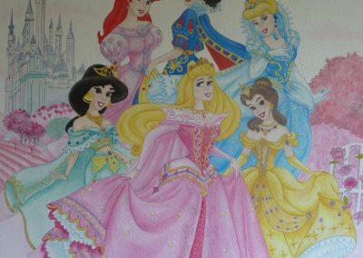 Muurschildering meisjeskamer prinsessen