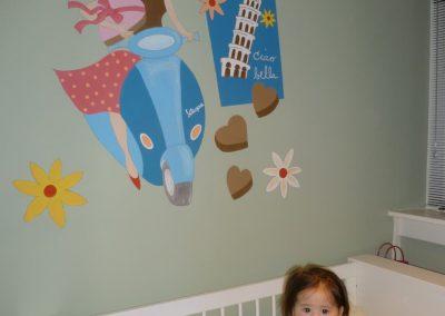 Babykamer muurschildering retro