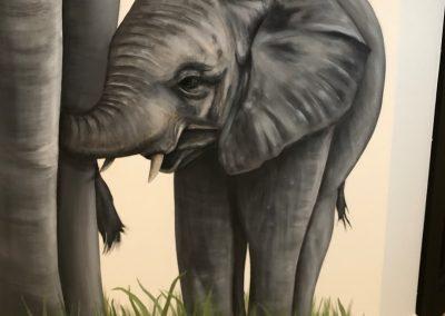 Muurschildering Olifanten