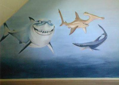 Muurschildering kinderkamer sharktale