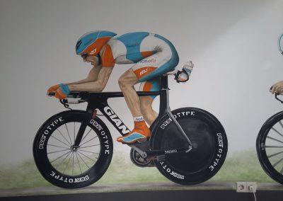 Muurschildering wielrenner spinning