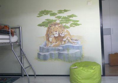 Muurschildering leeuwen