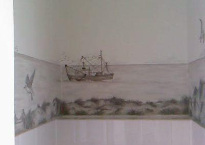 Muurschildering toilet kotter in grijstinten