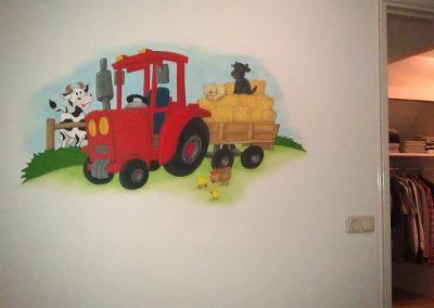 Muurschildering kinderkamer tractor