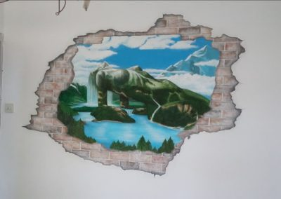 Muurschildering uitzicht bergen