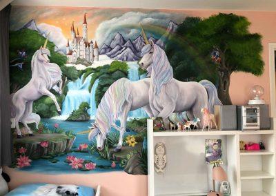Muurschildering fantasie unicorn
