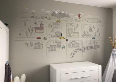 Babykamer muurschildering wegen plattegrond