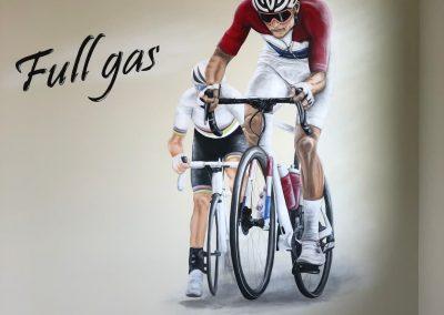 Muurschildering wielrenners