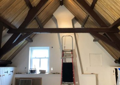 Plafond schildering balken en houtimitatie