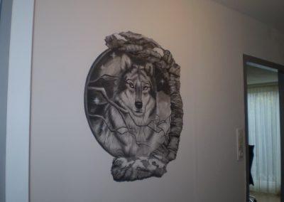 Muurschildering wolf