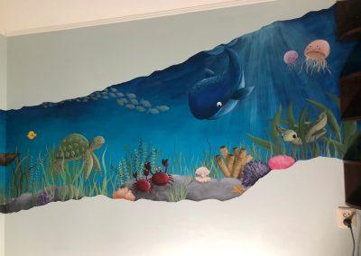 Muurschildering kinderkamer zee